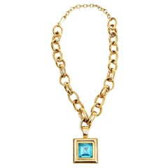 Givenchy Turquoise Chain and Glass Medallion Link Necklace Vintage