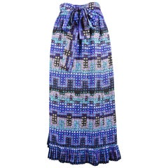 Givenchy Vintage 1970s Blue Silk Midi Skirt