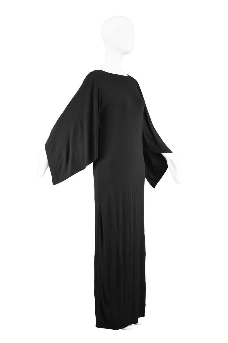Givenchy Vintage Nouvelle Boutique Black Jersey Maxi Column Dress, 1970s In Good Condition For Sale In Doncaster, South Yorkshire