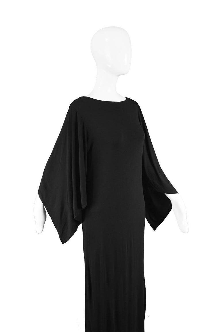 Women's Givenchy Vintage Nouvelle Boutique Black Jersey Maxi Column Dress, 1970s For Sale