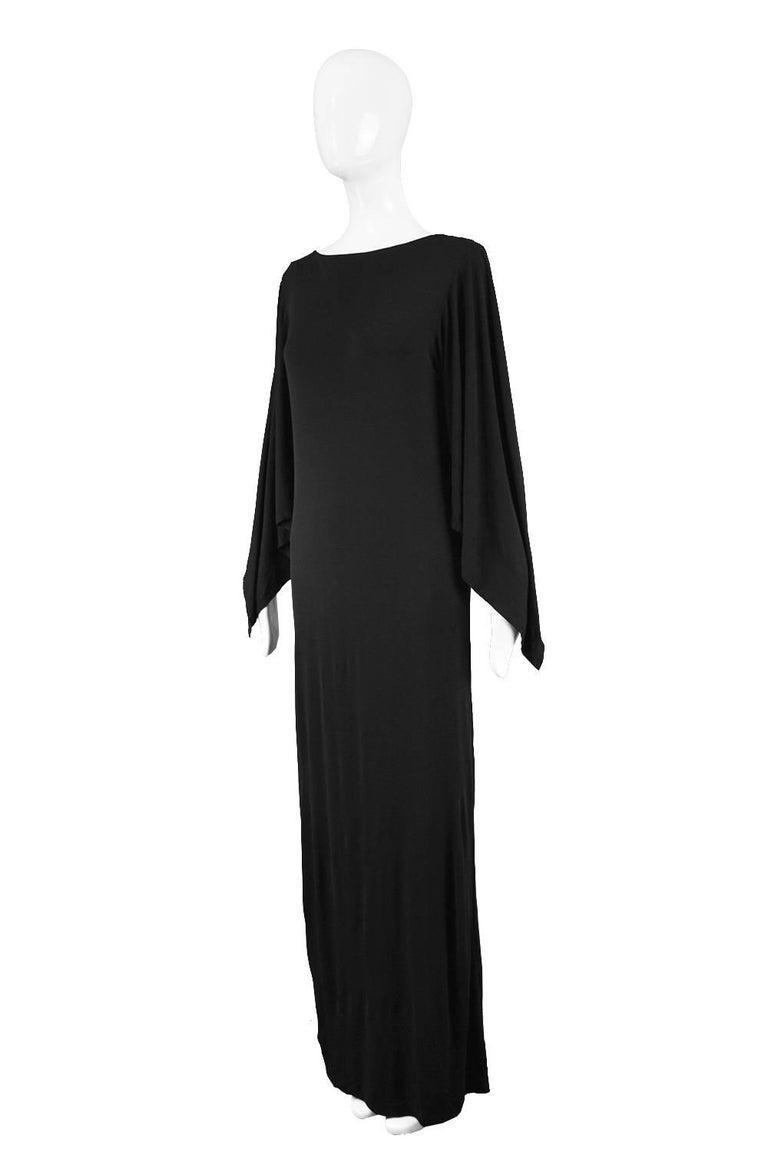 Givenchy Vintage Nouvelle Boutique Black Jersey Maxi Column Dress, 1970s For Sale 1