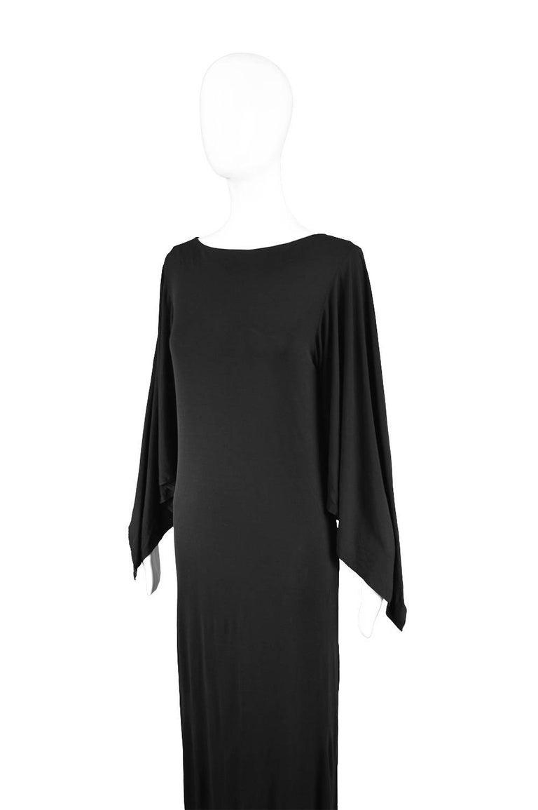Givenchy Vintage Nouvelle Boutique Black Jersey Maxi Column Dress, 1970s For Sale 2