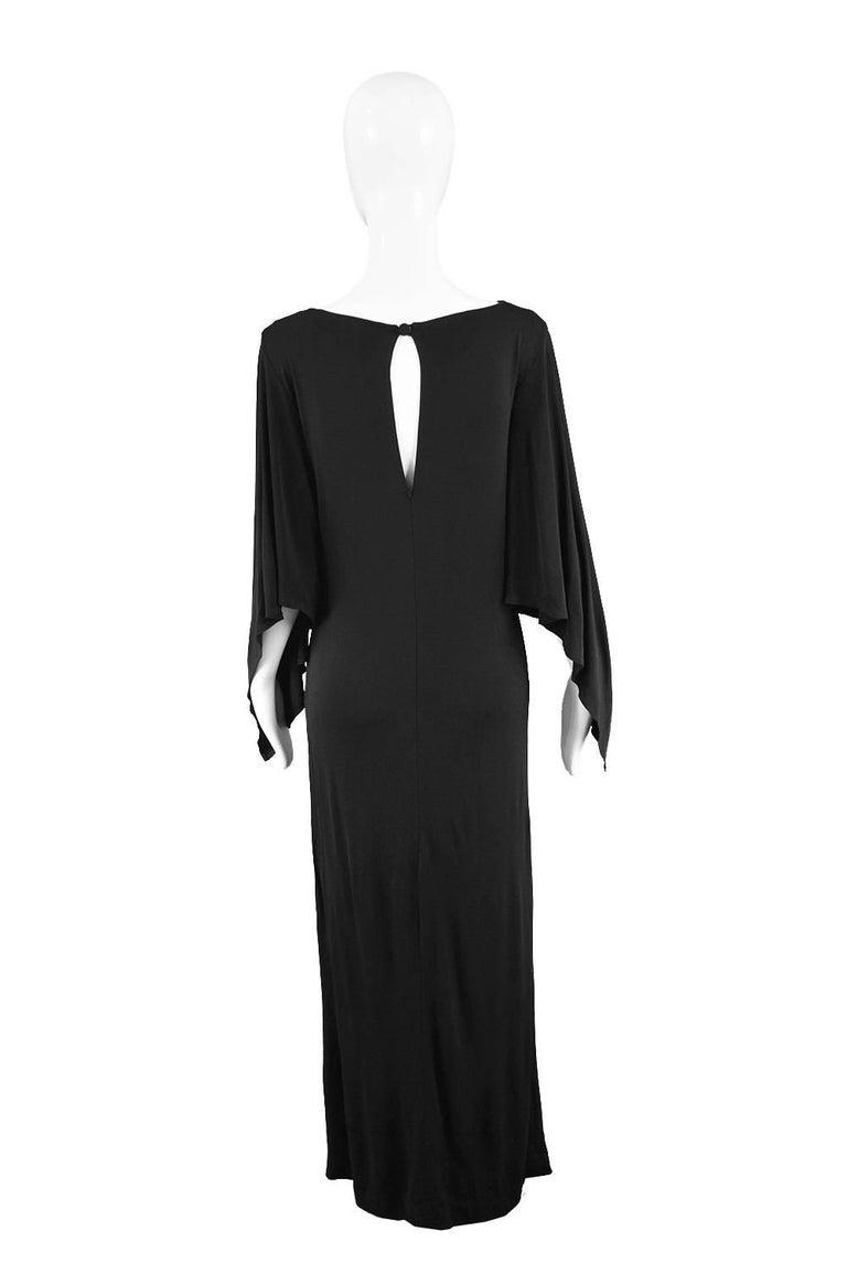 Givenchy Vintage Nouvelle Boutique Black Jersey Maxi Column Dress, 1970s For Sale 3