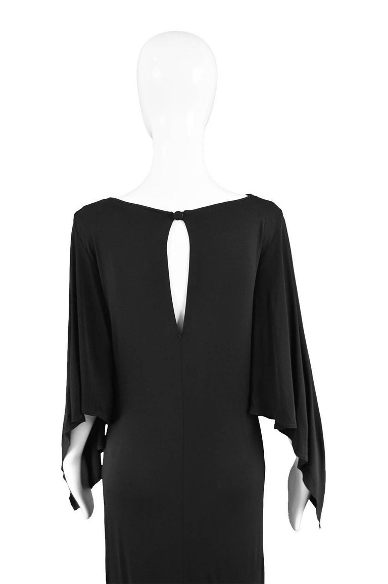 Givenchy Vintage Nouvelle Boutique Black Jersey Maxi Column Dress, 1970s For Sale 4