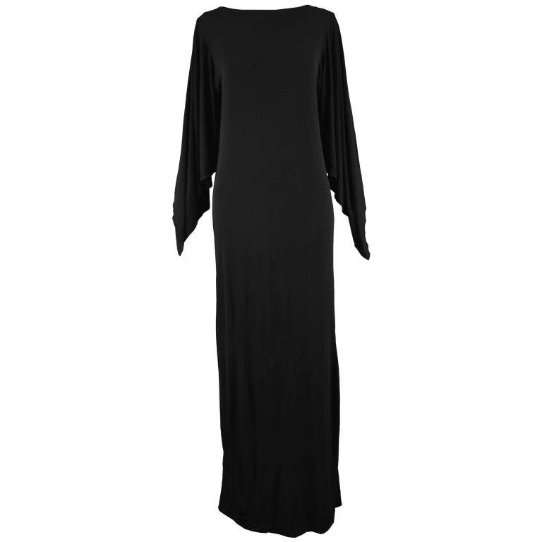 Givenchy Vintage Nouvelle Boutique Black Jersey Maxi Column Dress, 1970s