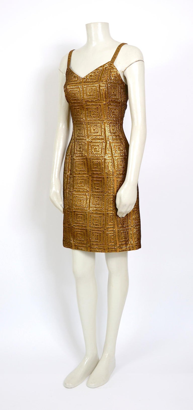 Givenchy vintage 1990s gold bronze logo dress In Excellent Condition For Sale In Antwerp, BE
