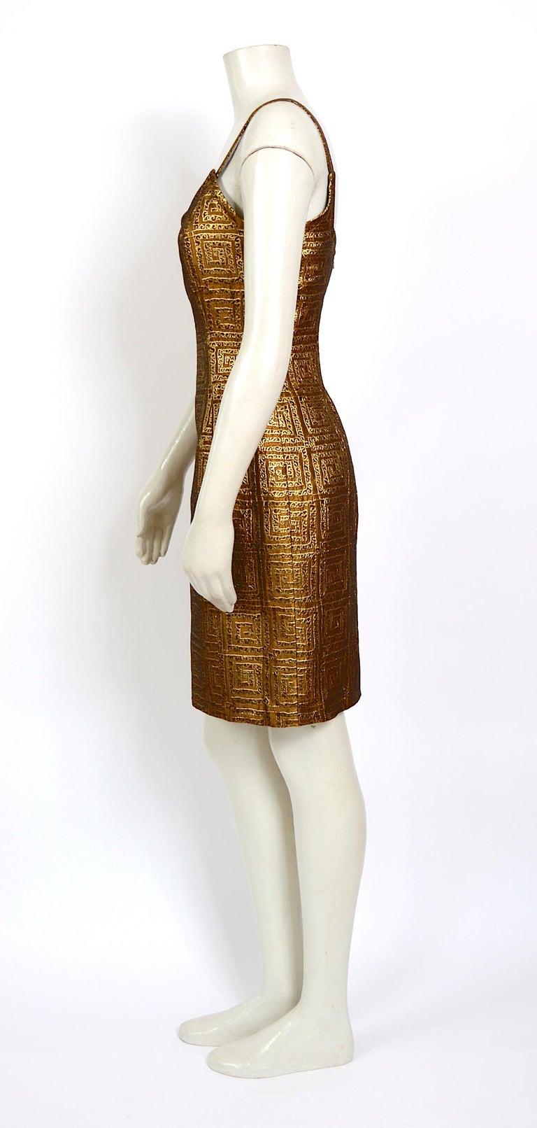 Women's Givenchy vintage 1990s gold bronze logo dress For Sale