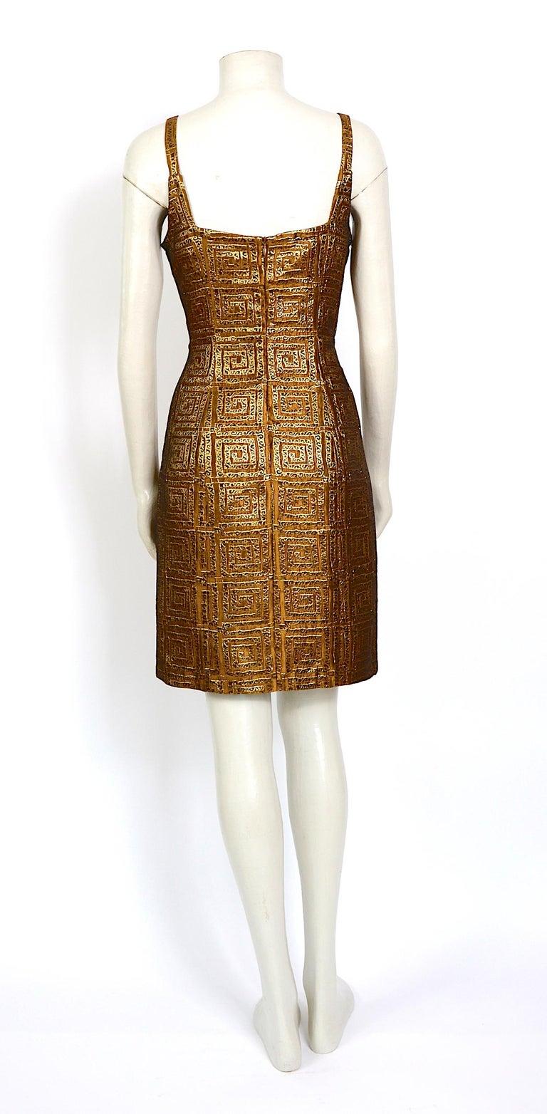 Givenchy vintage 1990s gold bronze logo dress For Sale 1