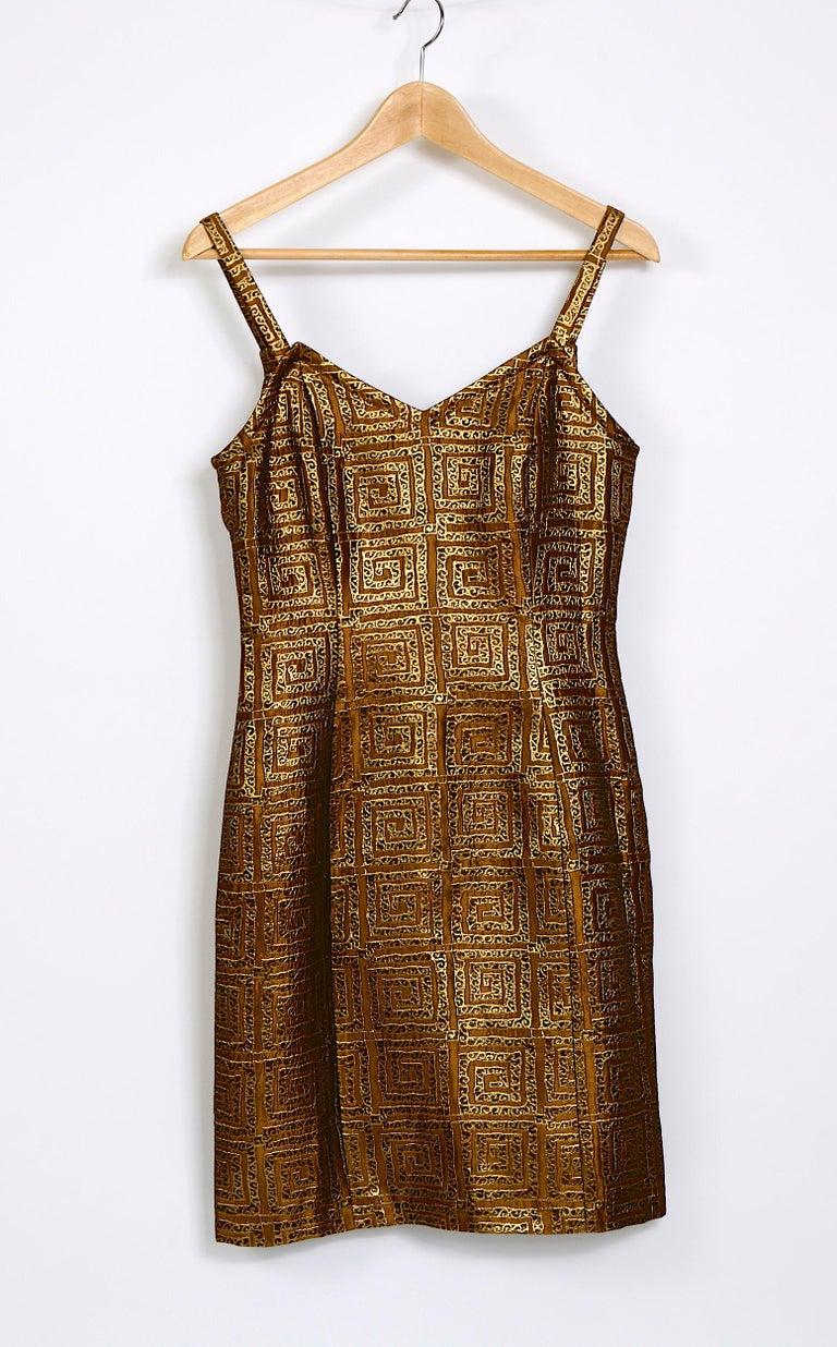 Givenchy vintage 1990s gold bronze logo dress For Sale 2