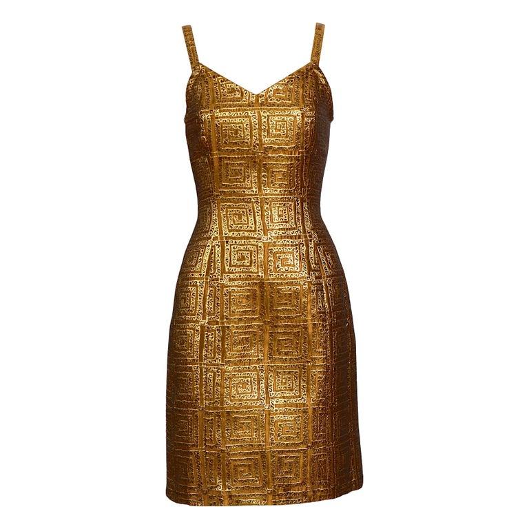 Givenchy vintage 1990s gold bronze logo dress For Sale