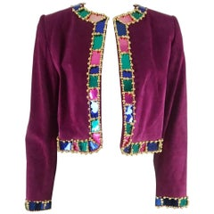Givenchy Vintage Fuchsia Suede Jacket w/ Beading-34