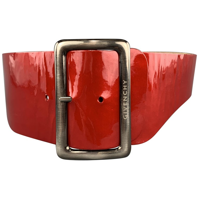 GIVENCHY Waist Size S Red Patent Leather Corset Waist Belt For Sale