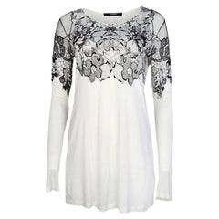 Givenchy White/Black Long Sleeve Top w/ Lace sz Large