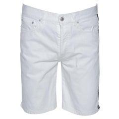 Givenchy White Denim Contrast Logo Tape Detail Shorts M