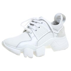 Givenchy White Fabric, Leather And Mesh Jaw Chunky Sneakers Size 36