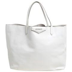 Givenchy White Leather Large Antigona Shopping Tote
