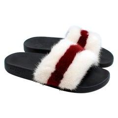 Givenchy White & Red Mink Fur Slides