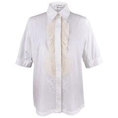 Givenchy White Shirt / Top Cream Chiffon Pleat Ruffles 44 / 10 New w/ Tag