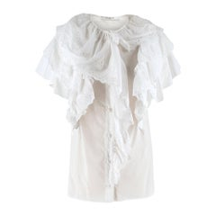 Givenchy White Short Sleeve Ruffled Blouse SIZE 36