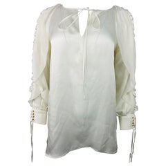 Givenchy White Silk Long Sleeves Blouse Top