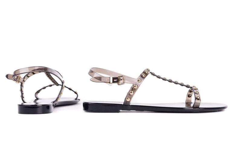 Givenchy Womens Black Rubber Gold Studded T-Strap Flat