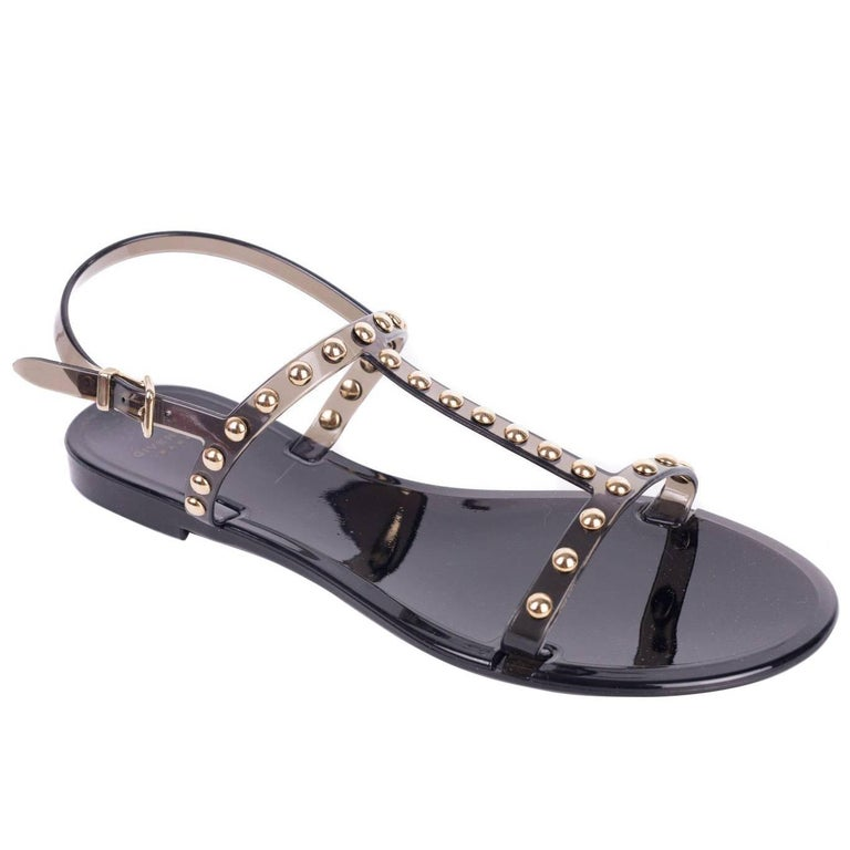 3e4720d4e39 HomeFashionClothingShoes. Givenchy Womens Black Rubber Gold Studded T-Strap Flat  Sandals For Sale