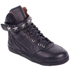 Givenchy Womens Black Tyson Stars Leather High Top Sneakers