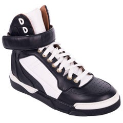 Givenchy Womens Black White Tyson Leather High Top Sneakers