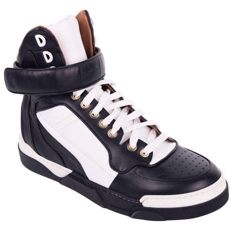 Givenchy Womens Black White Tyson Leather High Top Sneakers For Sale ... d40c001b0