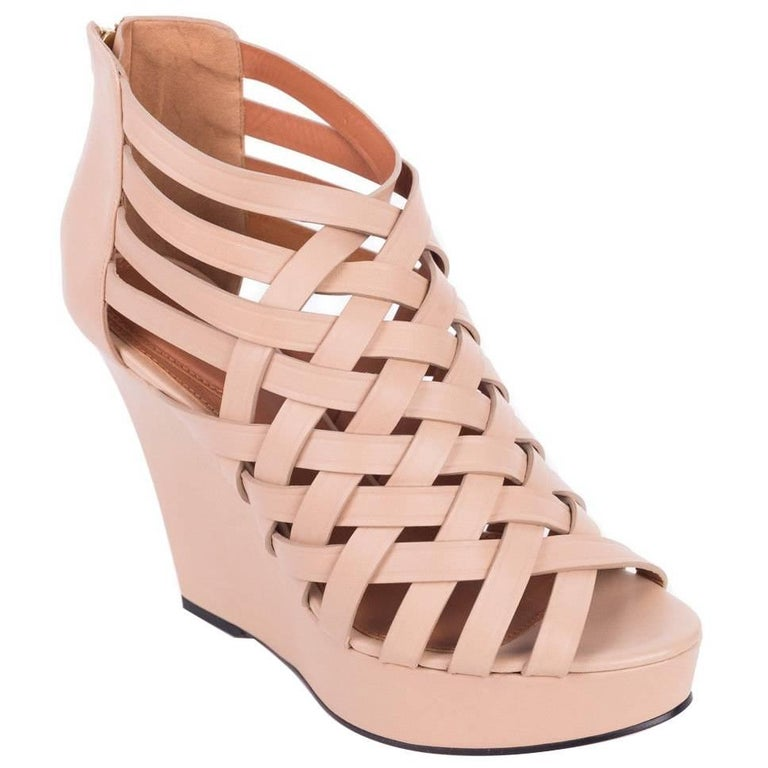 84356a0d2c9 Givenchy Womens Nude Caged Leather Wedge Heels For Sale at 1stdibs