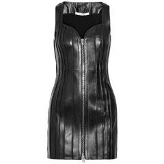 Givenchy Zip-Embellished Leather Mini Dress