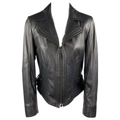 GIZIA Size 4 Navy Leather Zip Fly Motorcycle Jacket