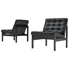Gjerløv-Knudsen and Lind Pair of Black Moduline Slipper Chairs