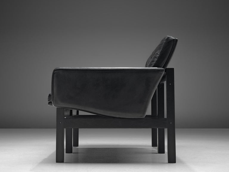 Gjerløv-Knudsen and Lind All Black Moduline Settee In Good Condition For Sale In Waalwijk, NL