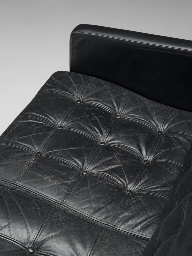 Leather Gjerløv-Knudsen and Lind All Black Moduline Settee For Sale