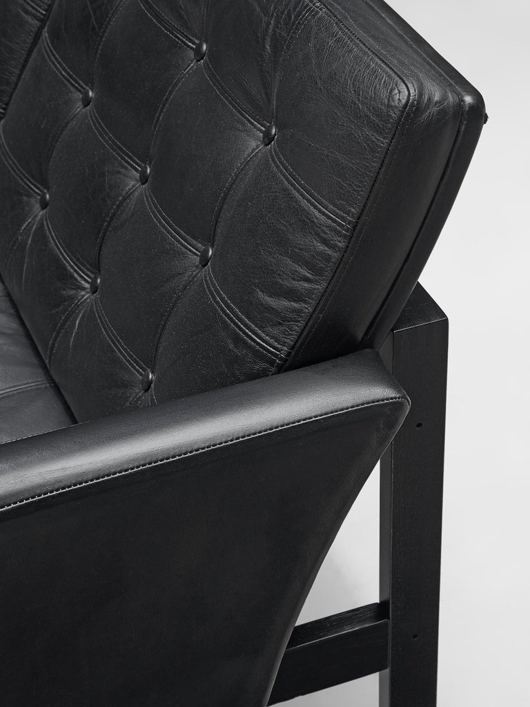 Gjerløv-Knudsen and Lind All Black Moduline Settee For Sale 1