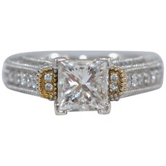 GLA Certified 1.7 Carat Diamond Solitaire White 18K Gold Bridal Engagement Ring
