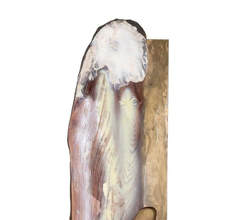 Evocative and captivating, this sculpture will infuse a nature-inspired accent of great visual allure in a rustic, Minimalist and contemporary interior. Made of salvaged paulownia and fir finished with epoxy resins, acrylics, and stucco, this