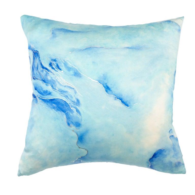 Modern Glacier 1 Silk Pillow, Light Blue For Sale