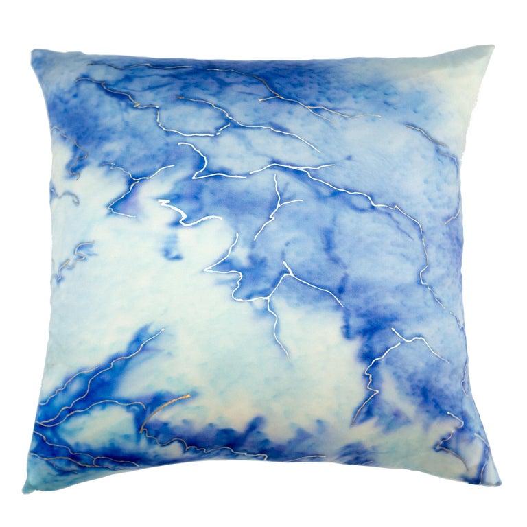 Modern Glacier 2 Pillow, Ilk, Blue Hues For Sale
