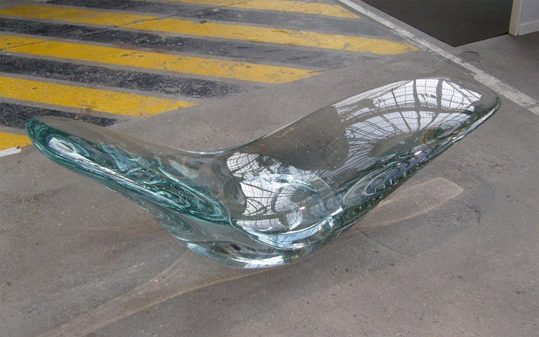 Glacier, Sculptural Chaise Longue Cast in Optical Glass by Brodie Neill 2