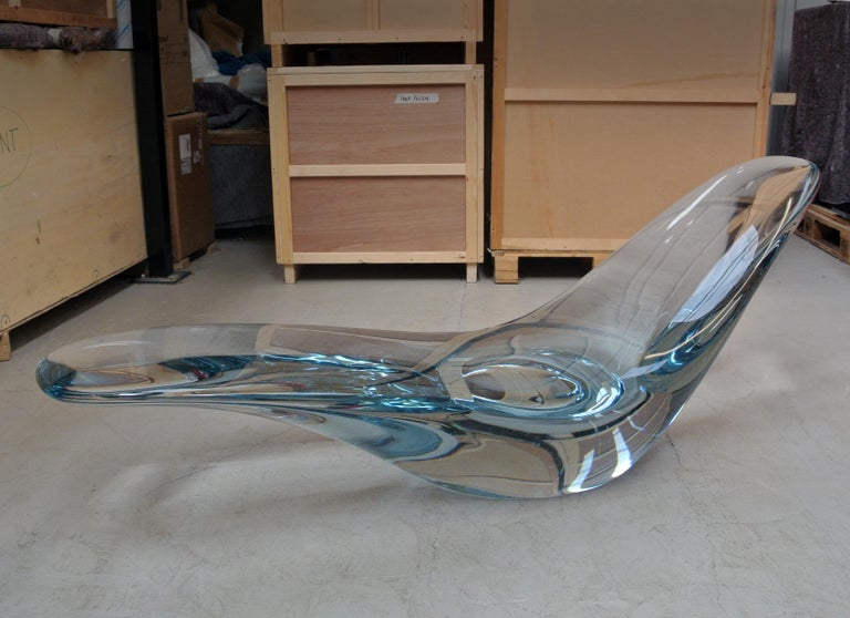 Glacier, Sculptural Chaise Longue Cast in Optical Glass by Brodie Neill 3