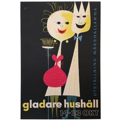 Gladare Hushall 1955 Original Vintage Midcentury Poster