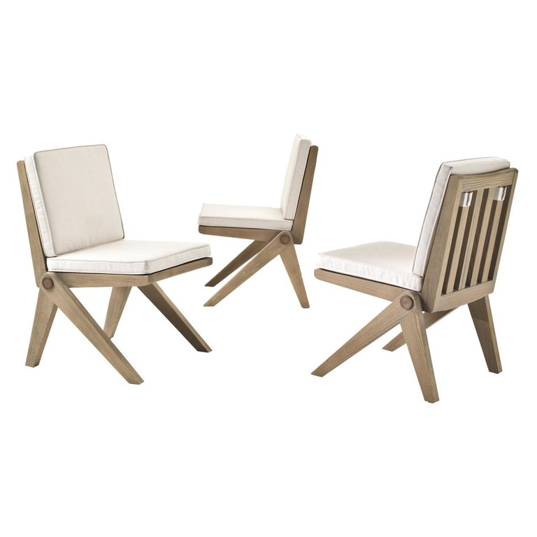 Glade Outdoor Chair in Solid Sassafras with Seat & Back Cushion - Metal Details For Sale