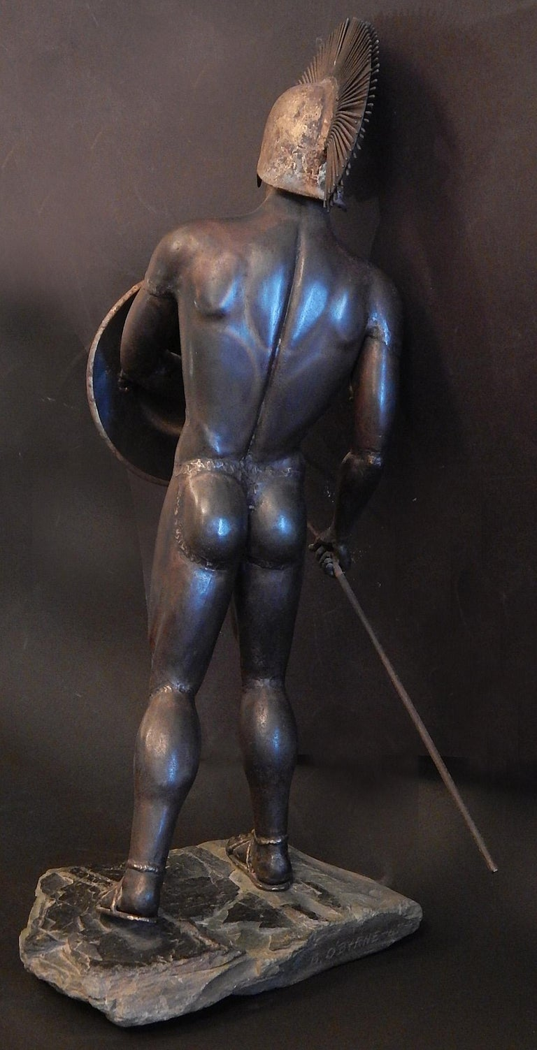 Superlative examples of welded, Brutalist sculptures from the 1960s, this pairing of Gladiator and