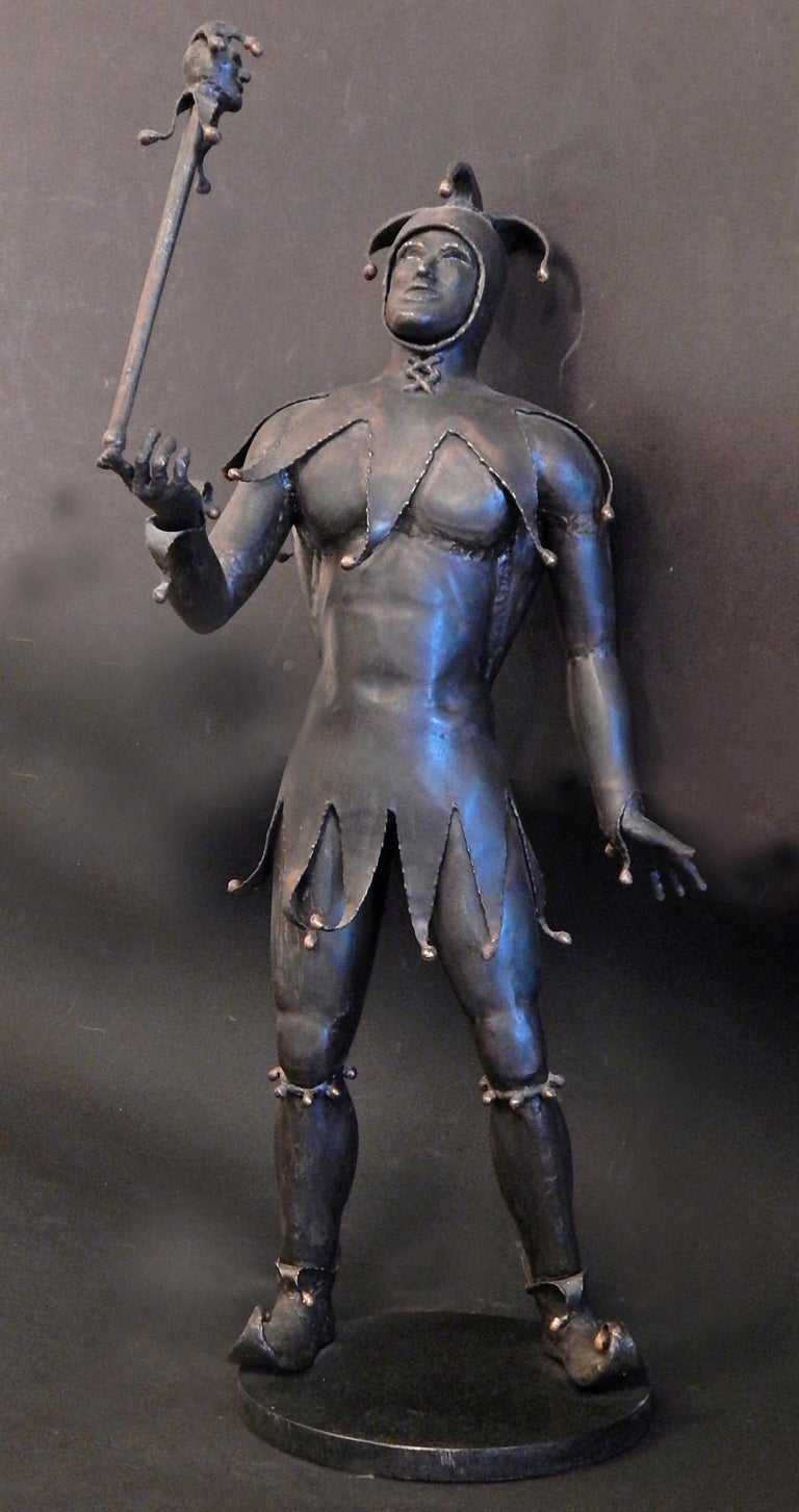 Steel Gladiator and Jester, Brutalist Sculptures in Mixed Metal, 1966-1967 For Sale