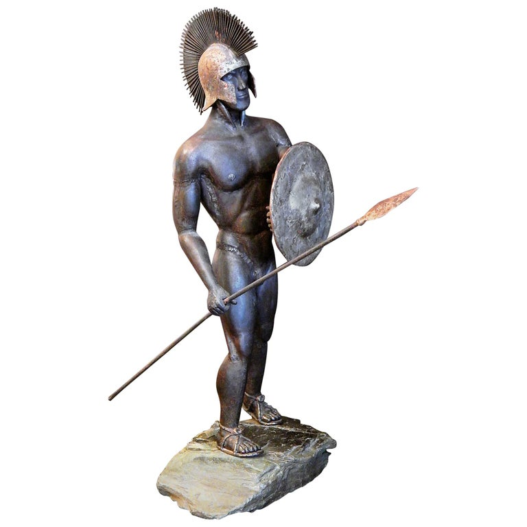 Gladiator and Jester, Brutalist Sculptures in Mixed Metal, 1966-1967 For Sale