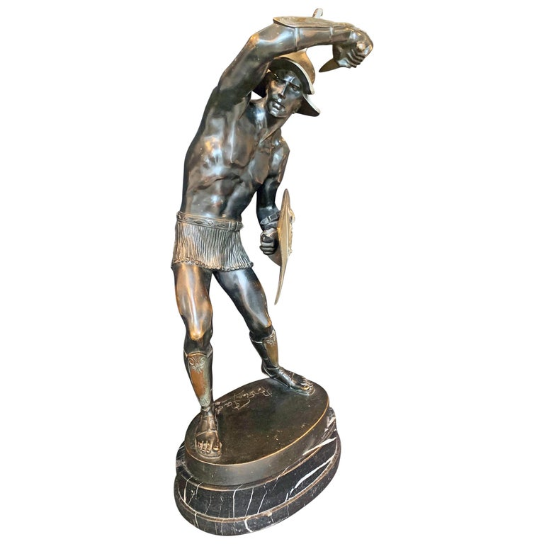 """""""Gladiator with Shield and Helmet,"""" Rare, Large Bronze Sculpture with Nude Male For Sale"""