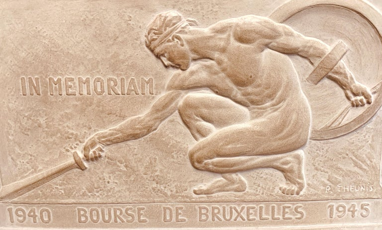 Powerful and moving, this depiction of a nude male gladiator, laying his sword to the ground with his shield behind him, is a beautiful memorial celebrating the end of World War II, 1947. The Belgian sculptor -- Pierre Theunis -- captures the