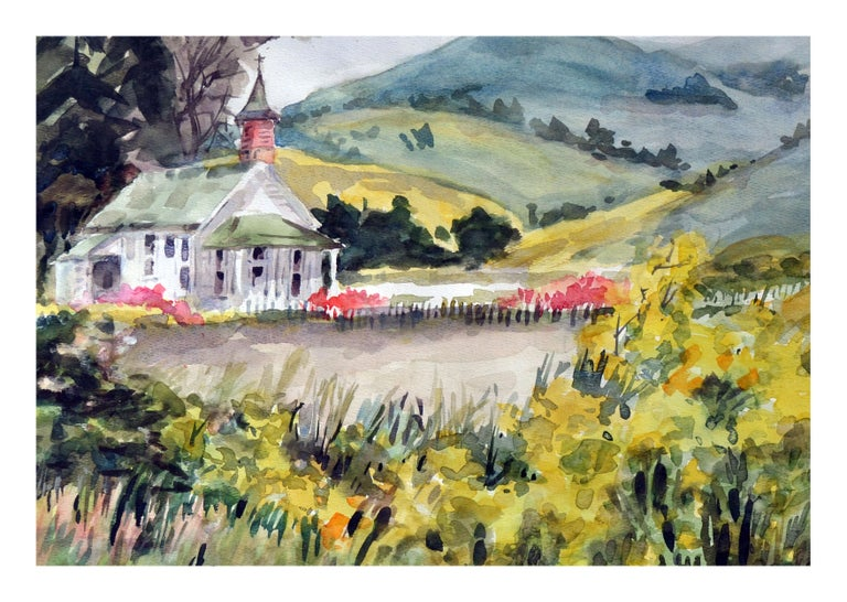 A California Gold Country Church  - Painting by Gladys Louise Bowman Fies